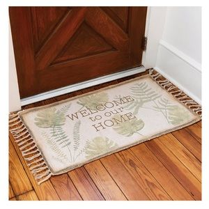 Tan Green Welcome To Our Home Fringe Rug Door Mat
